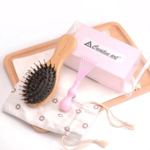 Small size boar bristle mix nylon pins natural bamboo hair brush