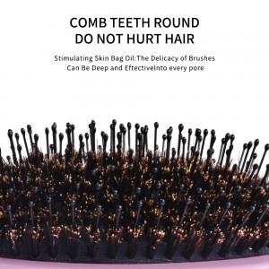 Professional Wooden Handle Hair Brush Boar Bristle Hair Brush