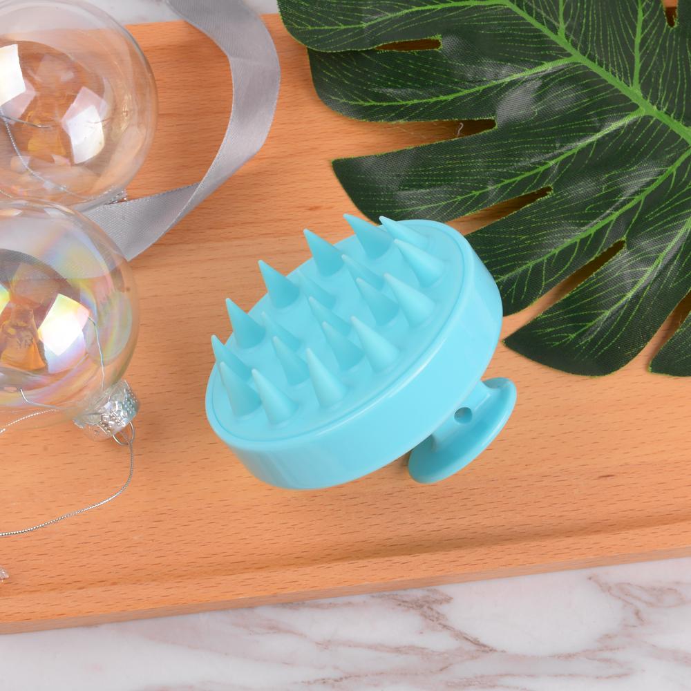 Best selling round shampoo brush hair scalp massager blue silicone shampoo brush Featured Image