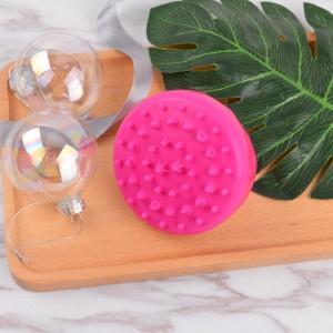 Corrugated Gl Sheet Boar Bristle Round Brush - Loop handle bath brush rose red silicone shampoo brush  – QiLin