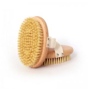 Factory wholesale 100% natural vegan sisal bristle exfoliating brush bamboo wooden handle shower dry body bath brush