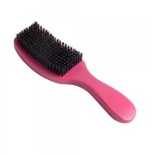 Pink Wooden 360 Wave Hair Brush Boar Bristle Curve Beard Brush