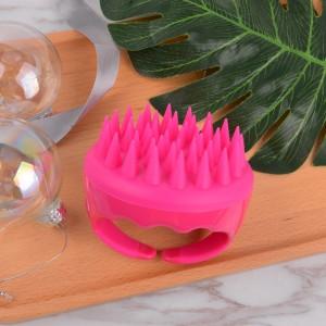 Soft touch silicone rose pink round bath brush shower-use hair massage shampoo brushes