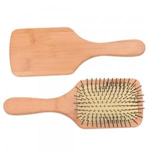 Natural bamboo hair brush scalp massage hair brush bamboo square paddle cushion hair brush