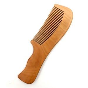 OEM logo natural wood long handle wooden comb