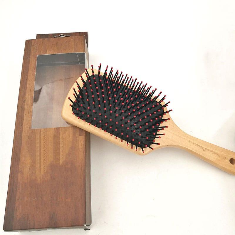 HairScalp MassageHairBrush Detangle WetHairBrushBambooBoar BristleHairBrush