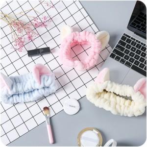 Soft Spa Wrap Cat Ear Head Band Stretch Terry Cloth Facial Headband for Face Wash