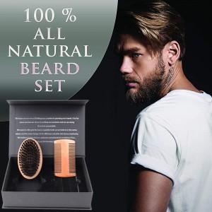2020 Beard comb and brush set men's wooden beard shaping tool Perfect Facial Hair beard Grooming Kit for men