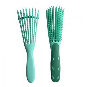 Green Color Plastic Mix TPEE Comb Vent Detangling Hair Brush