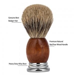 Beauty Tools Red Pear Wood Handle Soft Bristle Hair Men Beard Makeup Shaving Brush