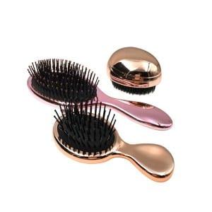 Round shape detangling hair TPEE pins golden rose sliver plastic hair brush